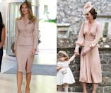 <p>The Duchess of Cambridge beat the first lady by just a few days with this one! For her sister Pippa Middleton's wedding on May 21, Kate wore a custom blush pink dress from Alexander McQueen. Less than a week later, FLOTUS paid a visit to a hospital in Brussels wearing a skirt suit in the same pink color from local designer Maison Ullens. (Photos: AP/Getty Images) </p>