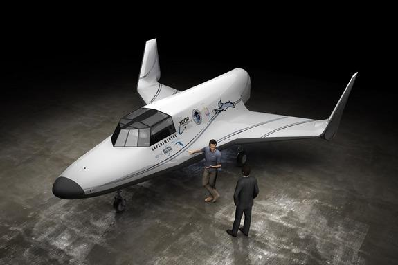 An artist's illustration of the Lynx space plane built by XCOR Aerospace of Mojave, Calif.