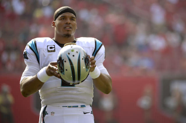 """'Superman' <a class=""""link rapid-noclick-resp"""" href=""""/nfl/players/24788/"""" data-ylk=""""slk:Cam Newton"""">Cam Newton</a> could be Kryptonite to fantasy owners this season. (AP)"""
