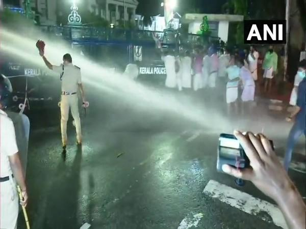 Visuals from protest site in Thiruvananthapuram. (Photo/ANI)