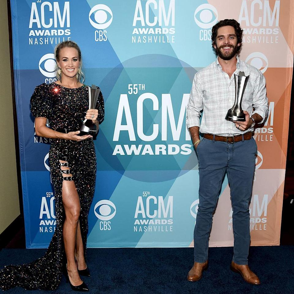"""<p>In what some considered peak 2020, Underwood tied with Rhett to win the honor at the 55th annual show in Nashville. Host Keith Urban, who presented the award, was shocked as anyone, and when Underwood took her place at the mic, she sighed, """"2020, man!"""" She did, however, congratulate Rhett (who returned the sentiment) and their fellow nominees: Eric Church, Luke Bryan and Luke Combs. </p>"""