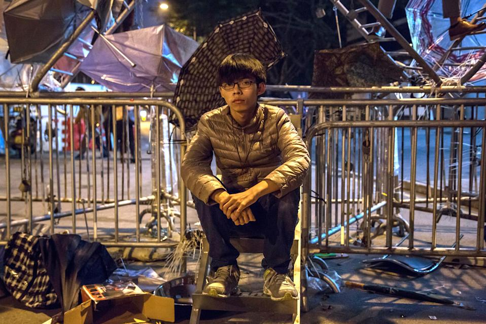 Joshua Wong, then 17, outside the Central Government Offices in Hong Kong on Dec. 10, 2014.