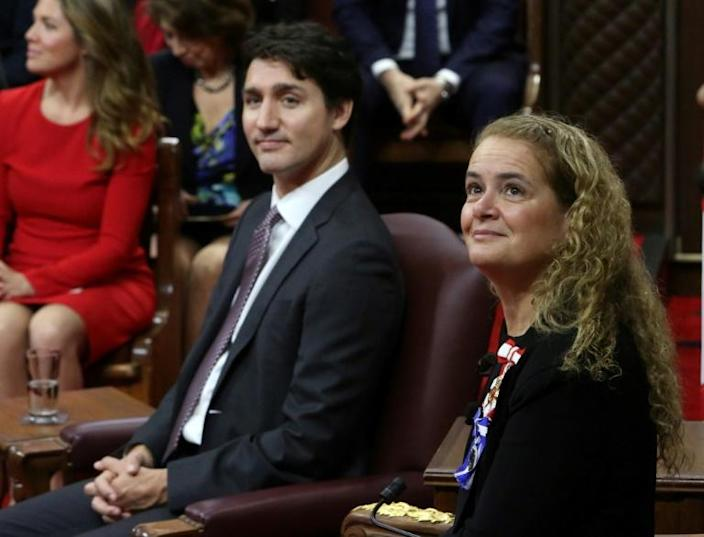 Canadian Prime Minister Justin Trudeau (L) and Governor General Julie Payette look to the gallery as they wait to deliver the Throne Speech in the Senate chamber on December 5, 2019 in Ottawa (AFP Photo/Fred CHARTRAND)