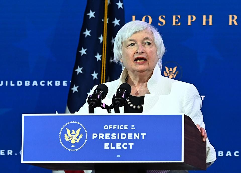 Janet Yellen, nominee for US Treasury Secretary, speaks during a cabinet announcement event at The Queen Theater in Wilmington, Delaware (AFP via Getty Images)