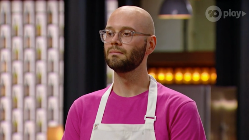 Reece Hignell looks concerned on MasterChef as fans turn on him