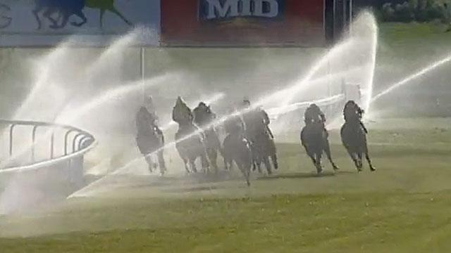 Sprinklers down the stretch at Bathurst Racecourse