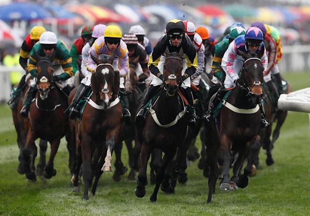 Horse Racing - Grand National Festival - Aintree Racecourse, Liverpool, Britain - April 13, 2018 General view during the 13:45 Alder Hey Children's Charity Handicap Hurdle Action Images via Reuters/Jason Cairnduff