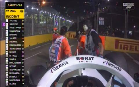 George Russel's car is removed from the track - Credit: Sky Sports F1