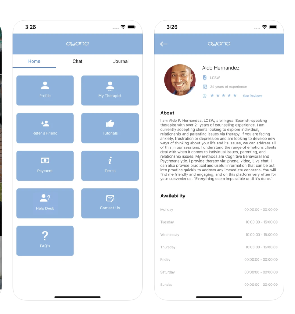 """<p>The app is specifically designed to connect members of marginalized communities with qualified therapists based on their specific backgrounds, needs, and identities. Therapy packages on the app range from text support, phone calls, and meetings with over 200 clinicians. </p><p><a class=""""link rapid-noclick-resp"""" href=""""https://apps.apple.com/us/app/ayana/id1489697292"""" rel=""""nofollow noopener"""" target=""""_blank"""" data-ylk=""""slk:DOWNLOAD NOW FROM THE APP STORE"""">DOWNLOAD NOW FROM THE APP STORE</a></p><p><a class=""""link rapid-noclick-resp"""" href=""""https://play.google.com/store/apps/details?id=com.ayanatherapy.therapistApp&hl=en_US"""" rel=""""nofollow noopener"""" target=""""_blank"""" data-ylk=""""slk:DOWNLOAD NOW FROM GOOGLE PLAY"""">DOWNLOAD NOW FROM GOOGLE PLAY</a></p>"""