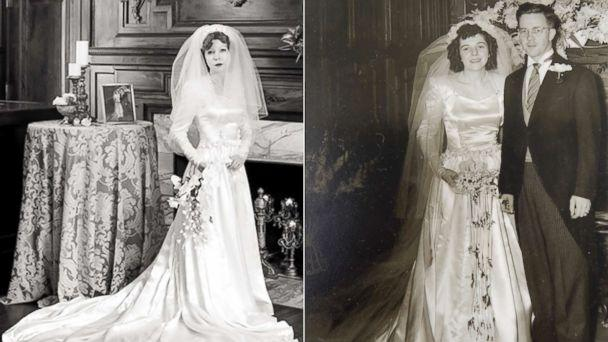 PHOTO: Colleen Dejno, 33, of St. Paul, Minnesota, wears the wedding gown belonging to her grandmother, Edith Jane, and Edith Jane poses at her 1947 wedding. (Jeannine Marie Photography| Patricia Cotter)