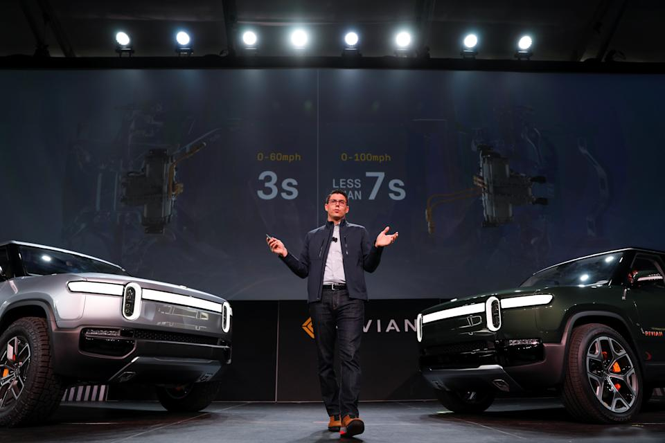 R.J. Scaringe, Rivian's 35-year-old CEO, introduces his company's R1T all-electric pickup truck and all-electric R1S SUV at Los Angeles Auto Show in Los Angeles, California, U.S. November 27, 2018.  REUTERS/Mike Blake