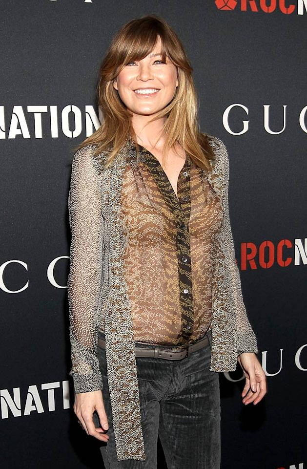 """""""Grey's Anatomy"""" star Ellen Pompeo donned a sheer top and a pair of cords for the occasion. Is her look hot ... or not? Christopher Polk/<a href=""""http://www.gettyimages.com/"""" target=""""new"""">GettyImages.com</a> - February 12, 2011"""
