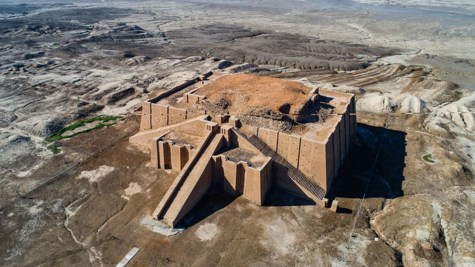 An aerial photo shows archeological site of the 6,000-year-old archaeological site of Ur during the preparations for Pope Francis' visit near Nasiriyah, Iraq, Saturday, March 6, 2021. Pope Francis arrived in Iraq on Friday to urge the country's dwindling number of Christians to stay put and help rebuild the country after years of war and persecution, brushing aside the coronavirus pandemic and security concerns to make his first-ever papal visit. (AP Photo/Nabil al-Jourani)