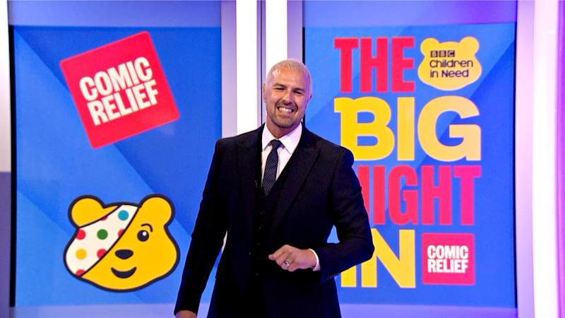 LONDON, ENGLAND - APRIL 23: In this screengrab, Paddy McGuinness takes part in the BBC Children In Need and Comic Relief 'Big Night In at London on April 23, 2020 in London, England.The 'Big Night In' brings the nation an evening of unforgettable entertainment in a way we've never seen before. Raising money for and paying tribute to those on the front line fighting Covid-19 and all the unsung heroes supporting their communities. (Photo by Comic Relief/BBC Children in Need/Comic Relief via Getty Images)