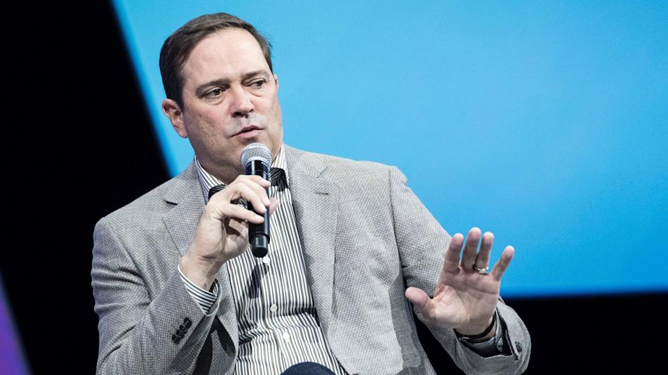 Mandatory Credit: Photo by Etienne Laurent/EPA-EFE/Shutterstock (9692285at)Chuck RobbinsVivaTech fair in Paris, France - 24 May 2018Cisco CEO Chuck Robbins delivers a speech during the VivaTech fair in Paris, France, 24 May 2018.