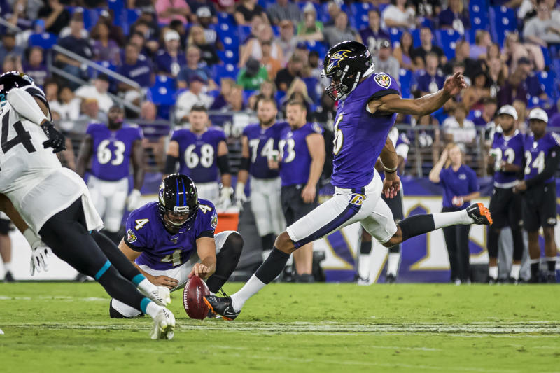 BALTIMORE, MD - AUGUST 08: Kaare Vedvik #6 of the Baltimore Ravens kicks a field goal against the Jacksonville Jaguars during the first half of a preseason game at M&T Bank Stadium on August 08, 2019 in Baltimore, Maryland. (Photo by Scott Taetsch/Getty Images)