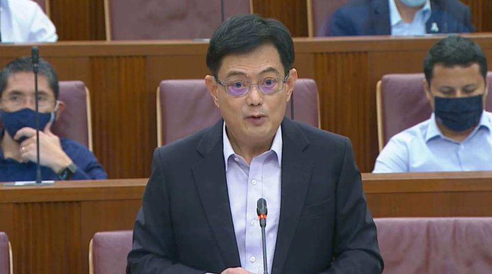 Deputy Prime Minister and Finance Minister Heng Swee Keat delivers Budget 2021 on 16 February 2021 in Parliament. (SCREENSHOT: YouTube)