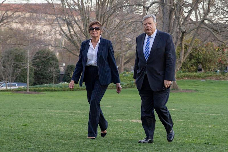 WASHINTON DC - MARCH 31: First lady Melania Trump's parents Amalija Knavas and Viktor Knavas walk off Marine One on the South Lawn of the White House in Washington, D.C., U.S., on Sunday, March 31, 2019. President Donald Trump declared he is likely to shut down Americas southern border this week unless Mexican authorities immediately halt all illegal immigration. (Photo by Tasos Katopodis-Pool/Getty Images)