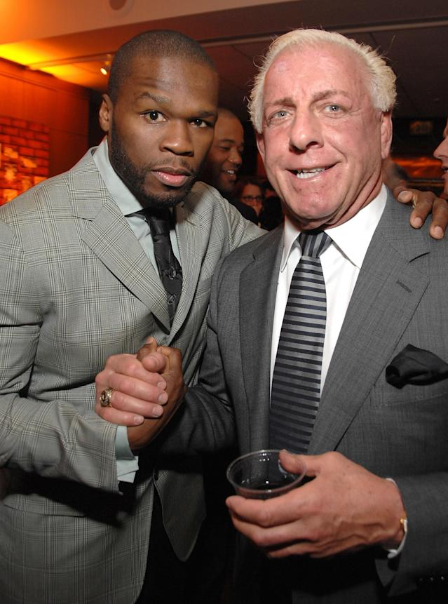 """Actor/rapper Curtis '50 Cent' Jackson and wrestler Ric Flair attend the after party of the Los Angeles premiere of """"The Wrestler"""" at the Academy Of Motion Arts & Sciences on December 16, 2008 in Los Angeles, California. (Photo by John Shearer/WireImage)"""