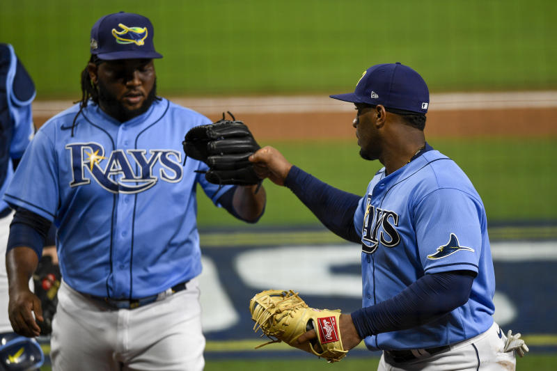 The Rays won a tight Game 1 of the ALCS against the Astros. (Photo by Matt Thomas/MLB Photos via Getty Images)