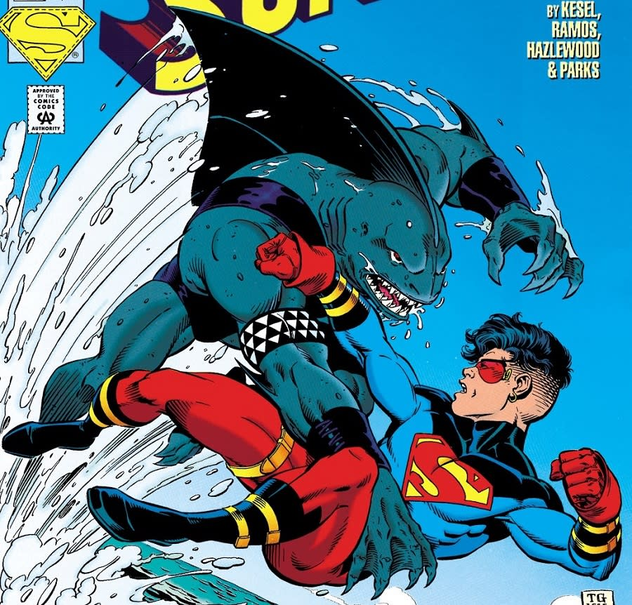 King Shark's first full appearance, in Superboy #9