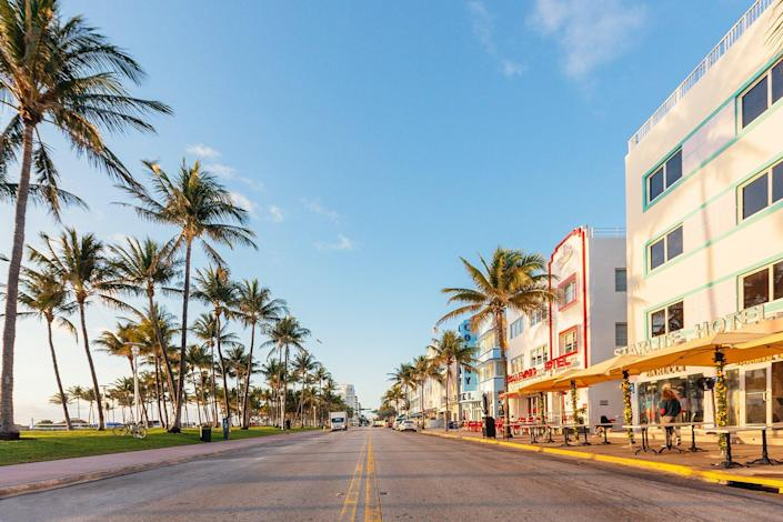 Empty Ocean Drive in the morning, South Beach, Miami, USA