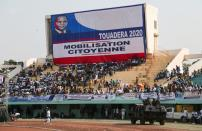 Supporters of Central African Republic President Faustin Archange Touadera gather for a political rally at the stadium in Bangui