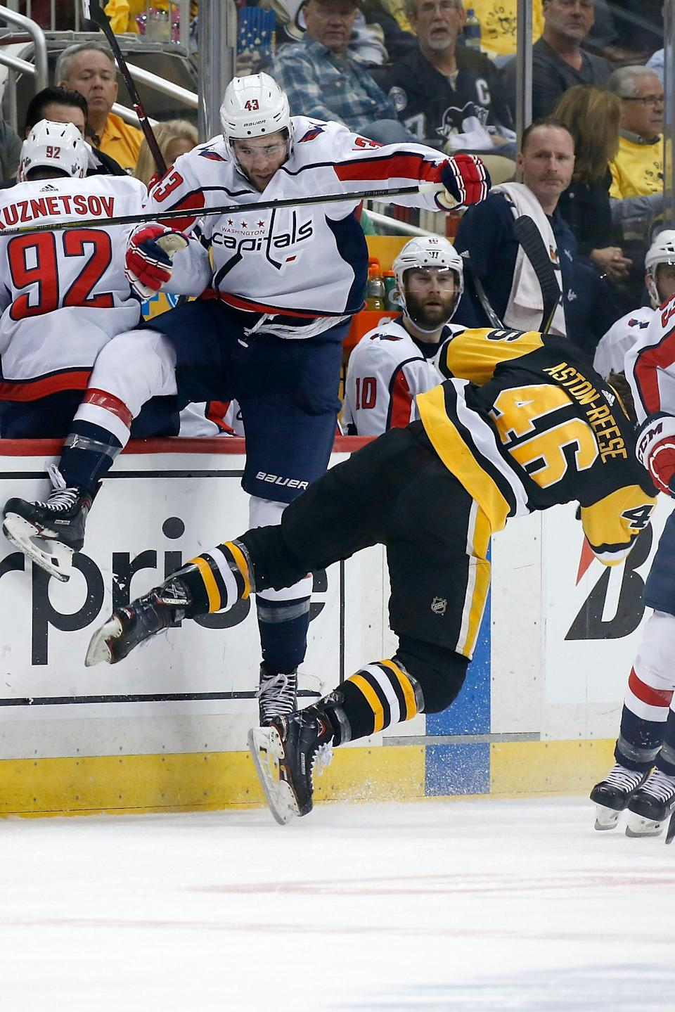 Tom Wilson earned a suspension for this hit on Zach Aston-Reese in May 2018.