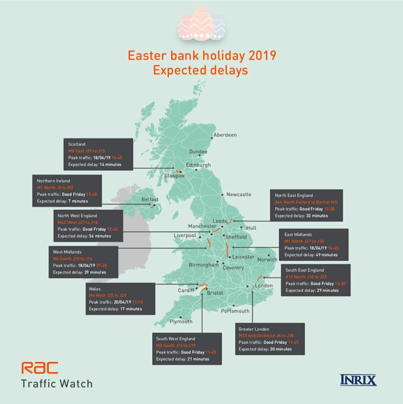According to the RAC's research, some of the worst affected roads will have delays of up to an hour.