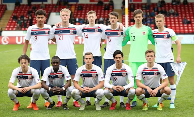 Soccer Football - UEFA European Under-17 Championship - Group B - Portugal v Norway - The Banks's Stadium, Walsall, Britain - May 4, 2018 Norway line up before the match Action Images via Reuters/Peter Cziborra