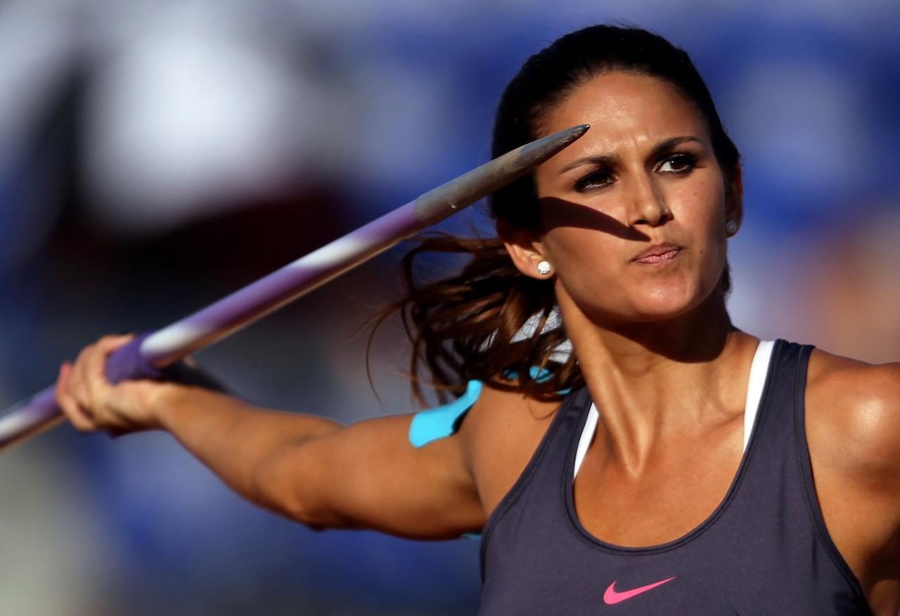Leryn Franco of Paraguay competes in the women's javelin throw final during Day 13 of the XVI Pan American Games at Telmex Athletics Stadium on October 27, 2011 in Guadalajara, Mexico.
