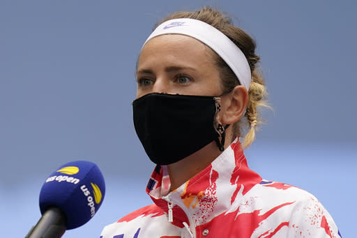 Victoria Azarenka, of Belarus, answers questions before playing against Naomi Osaka, of Japan, in the women's singles final of the US Open tennis championships, Saturday, Sept. 12, 2020, in New York. (AP Photo/Seth Wenig)