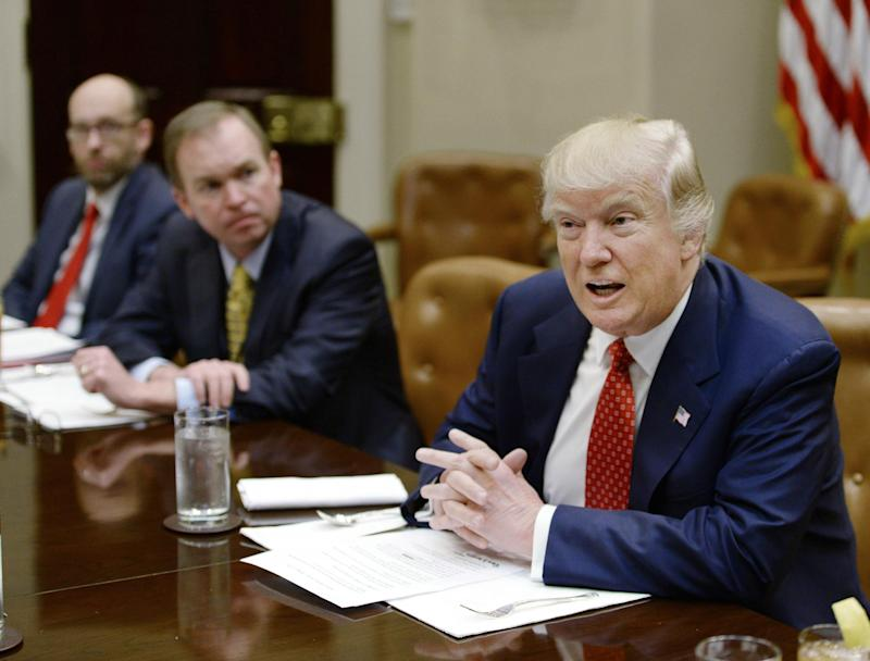 President Donald Trump discusses the federal budget in the Roosevelt Room of the White House on 22 February 2017: Getty Images
