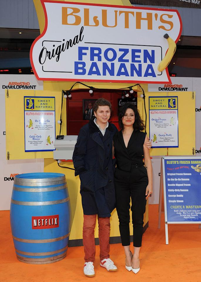 "Michael Cera & Alia Shawkat attend the red carpet premiere for the launch of Netflix Original Series, ""Arrested Development,"" Season 4 on May 09, 2013 at Vue Leicester Square in London, England."