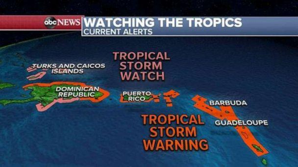 PHOTO: The system is expected to continue to move through the Leeward Islands in the next few hours before nearing the Virgin Islands and Puerto Rico tonight and the system will arrive in Hispaniola on Thursday and the Bahamas on Friday. (ABC News)