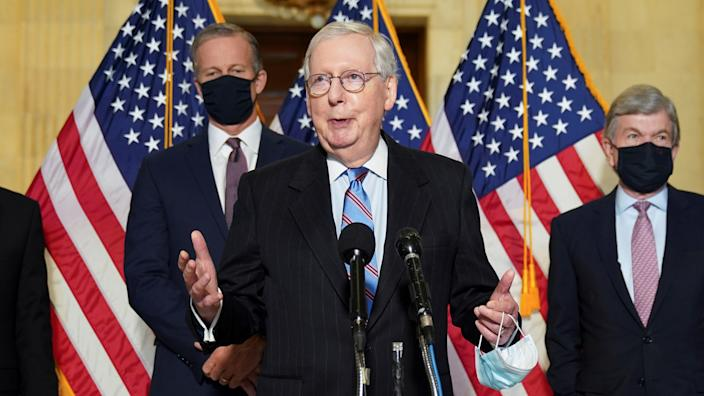 Senate Minority Leader Mitch McConnell speaks to reporters after the Republican weekly policy lunch on Capitol Hill in Washington, U.S., February 23, 2021. (Kevin Lamarque/Reuters)
