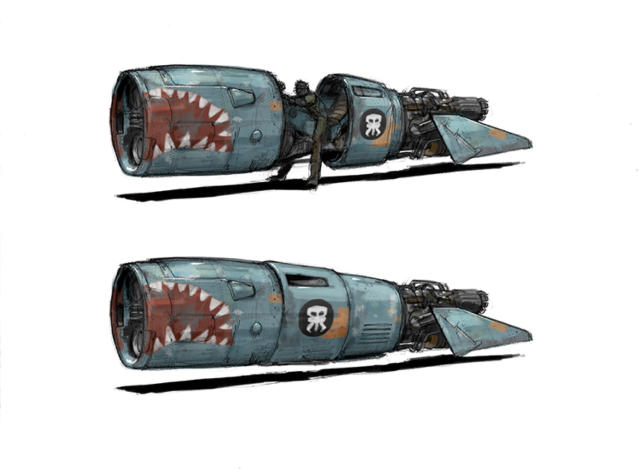 <p>These Lunt Davies designs for the pirates' speeders are heavily influenced by classic WWII fighters. (Image courtesy of Abrams Books/Lucasfilm Ltd.) </p>