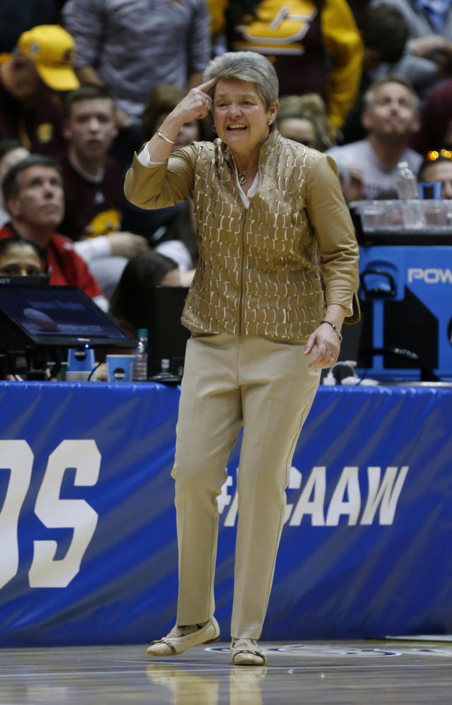 Central Michigan coach Sue Guevara directs her team during the second half of a second-round game against Ohio State in the NCAA women's college basketball tournament in Columbus, Ohio, Monday, March 19, 2018. (AP Photo/Paul Vernon)