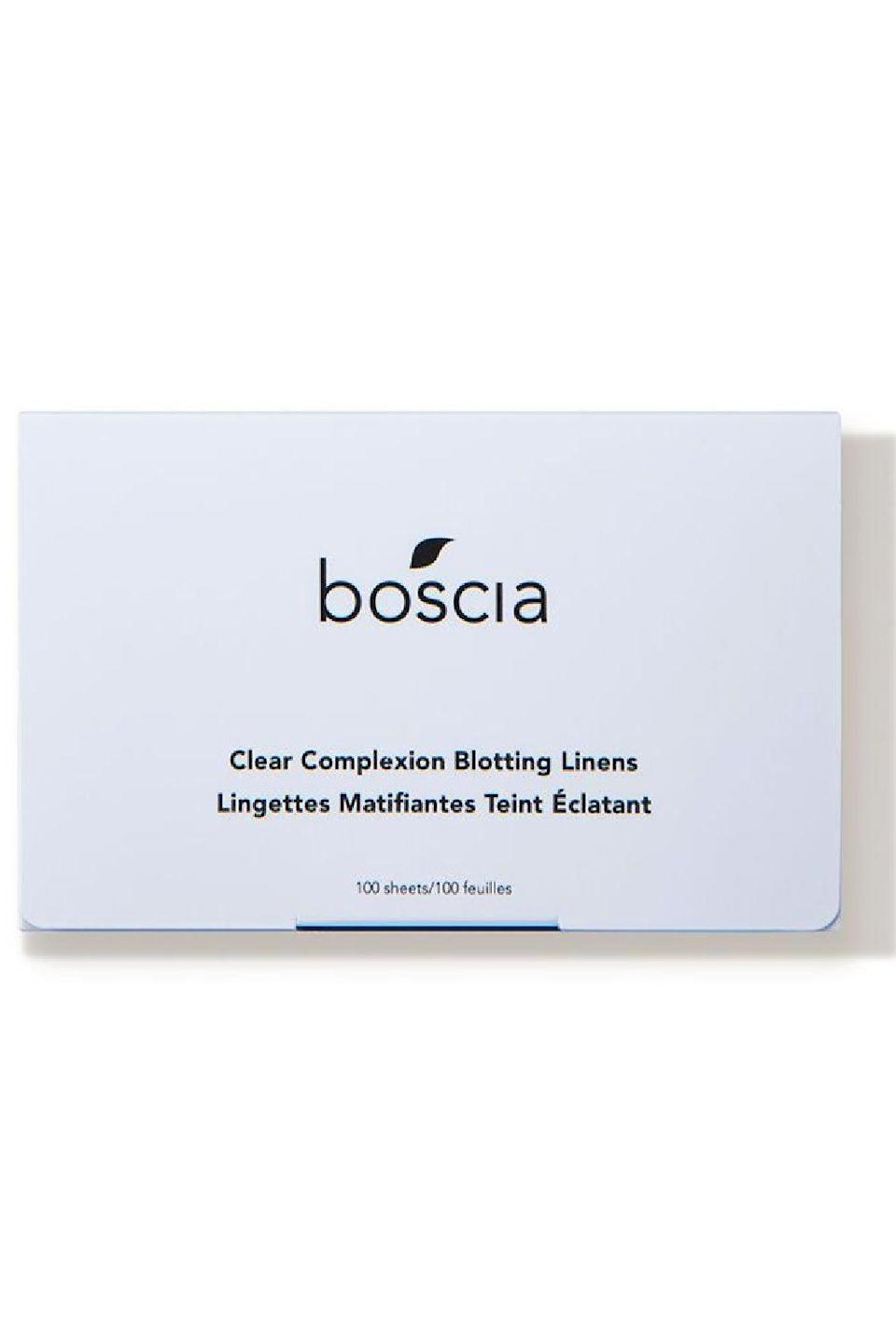 """<p><strong>boscia</strong></p><p>dermstore.com</p><p><strong>$10.00</strong></p><p><a href=""""https://go.redirectingat.com?id=74968X1596630&url=https%3A%2F%2Fwww.dermstore.com%2Fproduct_Clear%2BComplexion%2BBlotting%2BLinens%2B_76417.htm&sref=https%3A%2F%2Fwww.cosmopolitan.com%2Fstyle-beauty%2Fbeauty%2Fg35020776%2Fbest-oil-blotting-paper-sheets%2F"""" rel=""""nofollow noopener"""" target=""""_blank"""" data-ylk=""""slk:Shop Now"""" class=""""link rapid-noclick-resp"""">Shop Now</a></p><p>Not only do you get a ton of sheets in this pack (100, to be specific), but each oil blotting paper is infused with willow bark, an ingredient that <strong>helps to <a href=""""https://www.cosmopolitan.com/style-beauty/beauty/a29687994/clear-skin-tips/"""" rel=""""nofollow noopener"""" target=""""_blank"""" data-ylk=""""slk:prevent zits from popping up on your face"""" class=""""link rapid-noclick-resp"""">prevent zits from popping up on your face</a></strong> while also fading those dark spots your previous breakout left behind.<br></p>"""