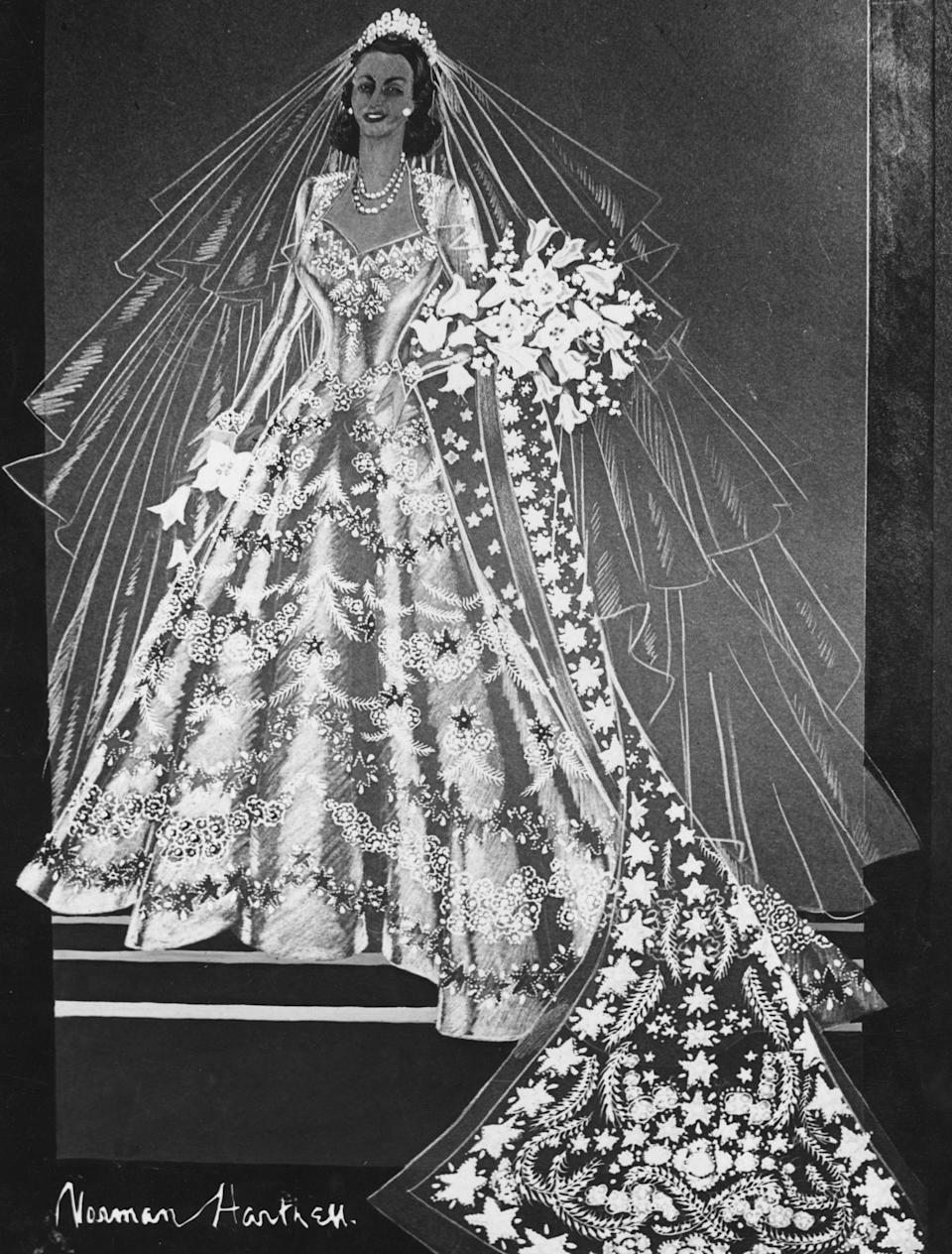 A sketch of Princess Elizabeth's wedding dress.