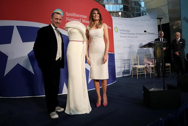 Melania Trump and designer Hervé Pierre (Photo: Getty Images)