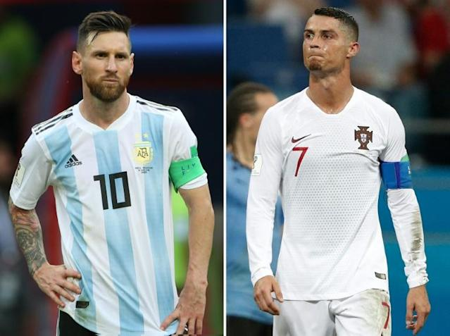 Argentina's Lionel Messi (left) and Portugal's Cristiano Ronaldo may have seen their last chance to win the World Cup slip away