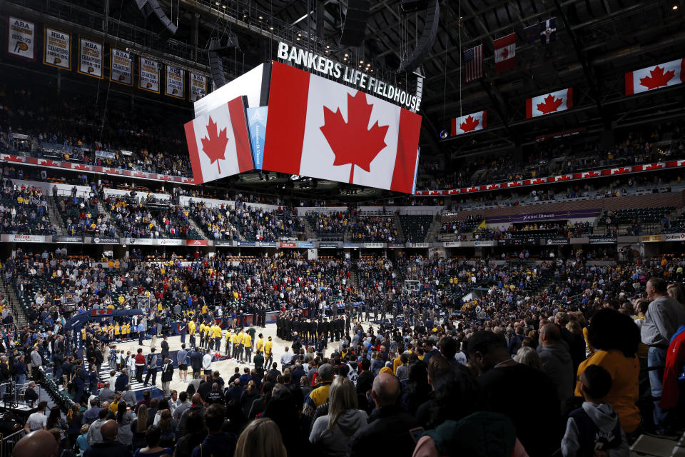 INDIANAPOLIS, IN - FEBRUARY 07: General view during the Canadian national anthem prior to the game between the Indiana Pacers and Toronto Raptors at Bankers Life Fieldhouse on February 7, 2020 in Indianapolis, Indiana. The Raptors defeated the Pacers 115-106. NOTE TO USER: User expressly acknowledges and agrees that, by downloading and or using this Photograph, user is consenting to the terms and conditions of the Getty Images License Agreement. (Photo by Joe Robbins/Getty Images)