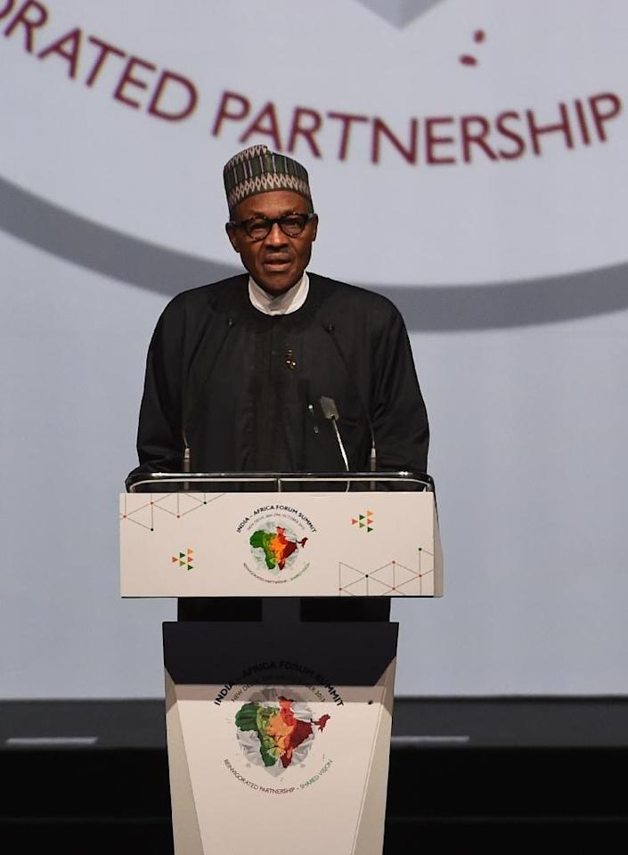 In office since May 2015, Nigeria's President Muhammadu Buhari, pictured at a New Delhi summit on October 29, has vowed to stamp out Boko Haram militants by the end of the year (AFP Photo/Money Sharma)
