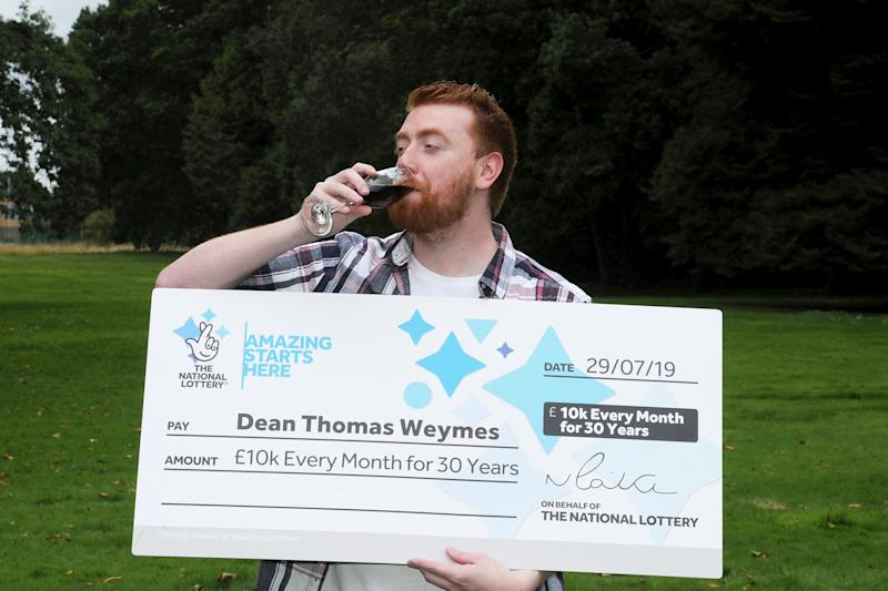 Dean Weymes won £3.6 million, or £10,000 every month for 30 years. (SWNS)