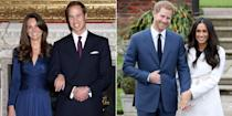 "<p>In November 2017, <a href=""http://www.harpersbazaar.com/uk/bazaar-brides/g13932803/prince-harry-and-meghan-markles-engagement-photocall-in-pictures/"" rel=""nofollow noopener"" target=""_blank"" data-ylk=""slk:Prince Harry and Meghan Markle posed outside Kensington Palace for their first official photocall"" class=""link rapid-noclick-resp"">Prince Harry and Meghan Markle posed outside Kensington Palace for their first official photocall</a> as a royal couple - confirming that they were engaged to be married. While they looked as beaming and in love as William and Kate did when they announced their engagement back in November 2010, there were a few key differences between the two moments.</p><p>As the Duke and Duchess of Cambridge celebrate 10 years since their engagement announcement, we break down the key differences between the two royal photocalls. </p>"