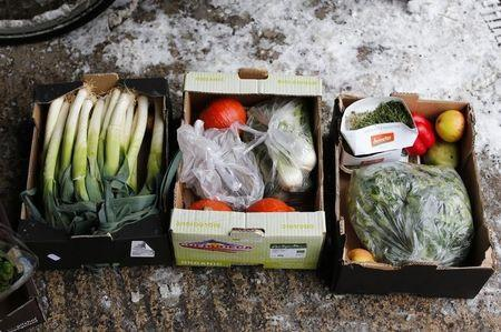 Vegetables pulled out from waste bins of an organic supermarket are pictured in Berlin