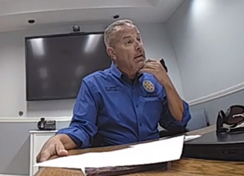 Florida Fish and Wildlife Conservation Commission Capt. David Dipre gives an interview to investigators about the Oct. 15, 2019, incident in which he shot a man three times during a welfare check. This image was taken from an officer's body camera footage.