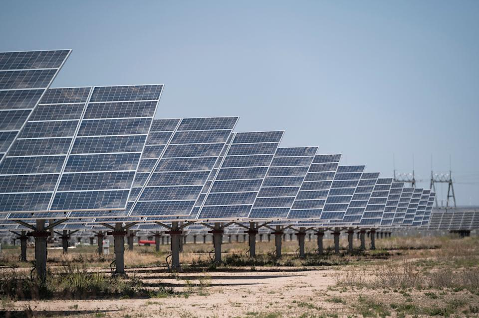 A solar farm produces electricity near Bakersfield, Texas, earlier this month. (Photo: Bill Clark via Getty Images)