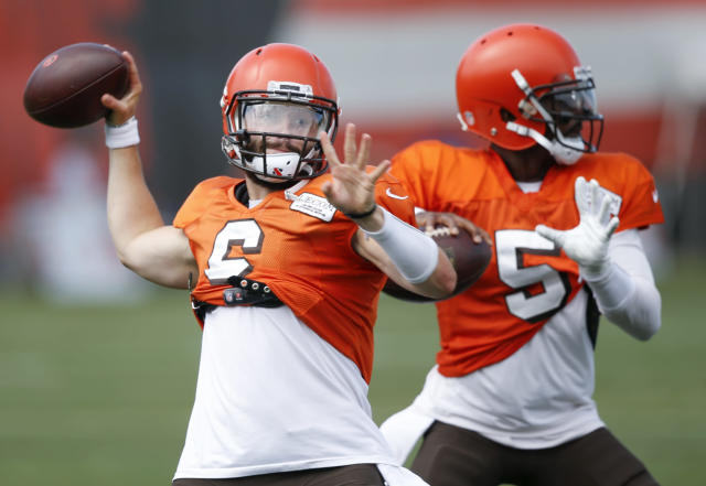 Baker Mayfield showed promise in his debut, but he still has work to do. (AP Photo/Ron Schwane)